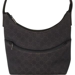 Gucci Dark brown canvas hobo shoulder bag